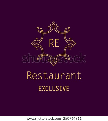 Template logo for the restaurant. Monogram. Vintage style. - stock vector