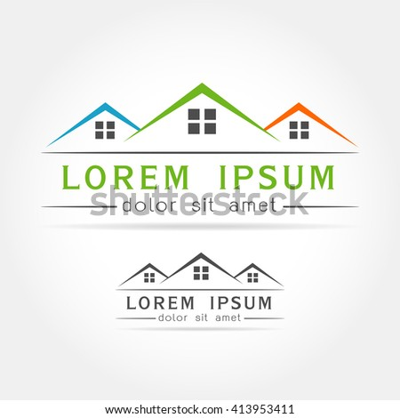 Template logo House as the House building on white background. house logo,Vector illustration - stock vector