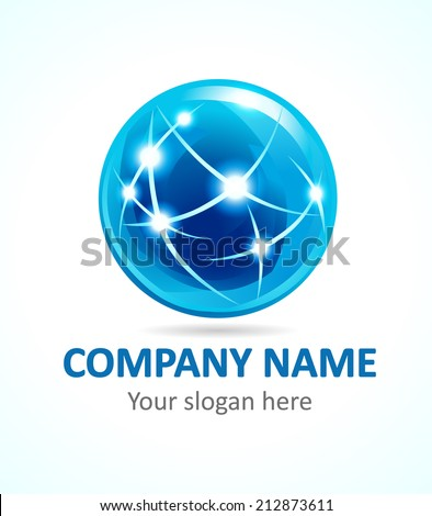 Template logo in the shape of a ball. - stock vector
