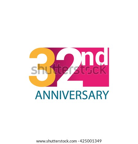 Template Logo 32nd anniversary. 32 years anniversary red colored vector design
