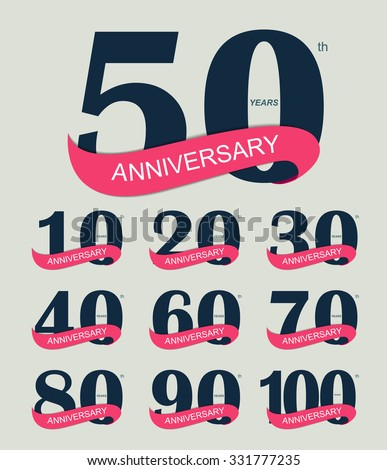 Template Logo Set Anniversary Vector Illustration EPS10. - stock vector