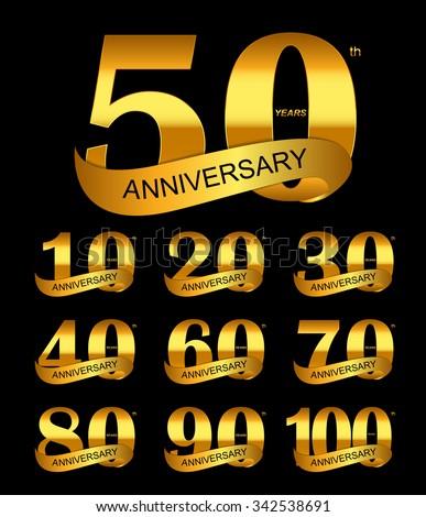 Template Logo Set Anniversary Vector Illustration EPS10 - stock vector