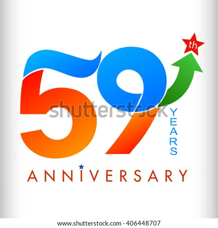 Template Logo 59th Anniversary Color Green Stock Vector 406448707