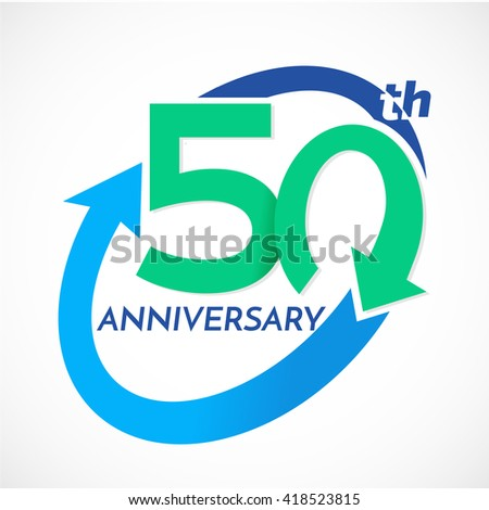 50 Th Years Anniversary Square Shape Stock Vector