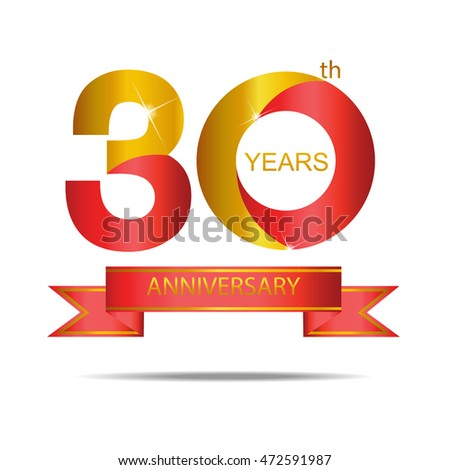 Template Logo 30th Anniversary Red Gold Stock Vector 2018