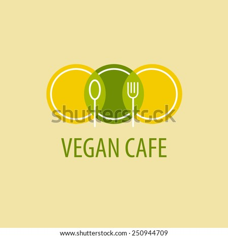 Template logo vegetarian cafe. Image of plates, spoons and forks on a yellow-green background - stock vector