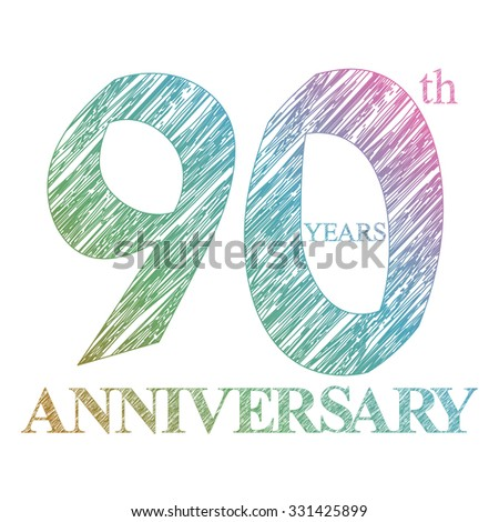 template logo with a circle for anniversary. 90 - stock vector