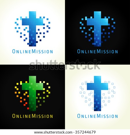 Template logotype for the online churches, missions, internet bible colleges and ministries in the form of cross and heart with pixels. The digital pixel christian logo. - stock vector