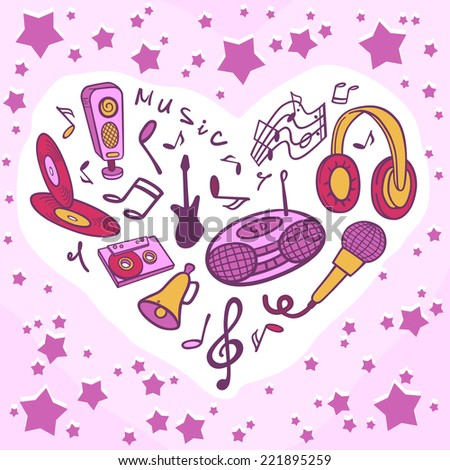 Template musical objects. Stylized illustration of a tape recorder, microphone, music, guitar, headphones, audio cassettes, compact discs, speakers. - stock vector