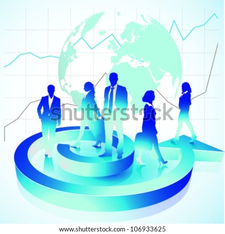 Template of a group of business and office people with globe.Vector illustration - stock vector