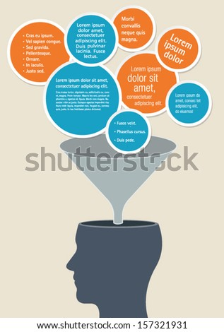 Template of a human head with texts entering a funnel  - stock vector