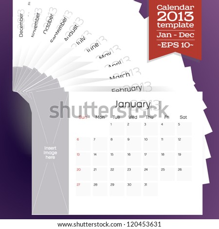 Template of all the 12 months of a calendar, for the new year 2013. The space for putting up an image has been provided for each month. - stock vector