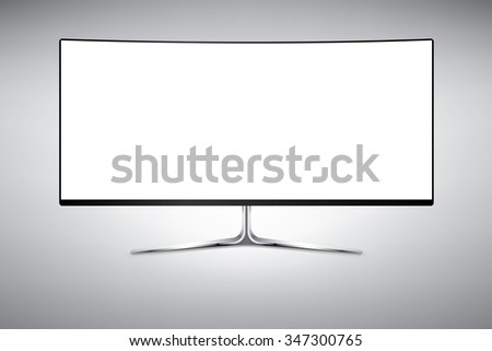 Template of big curved wide screen television or computer monitor. Vector Illustration isolated on white. - stock vector