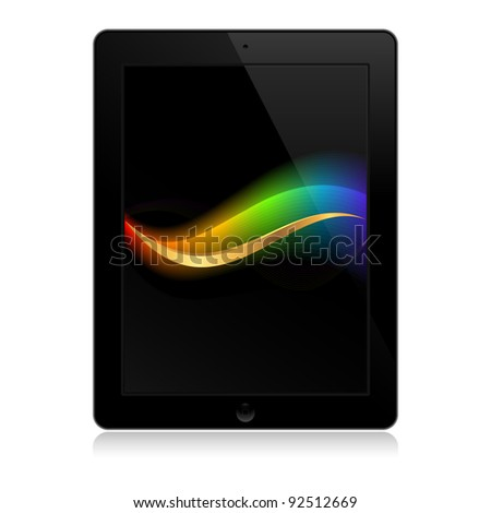 template of black tablet with wave - stock vector