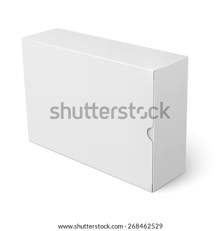 Template of blank cardboard box with flap cover standing on white background Packaging collection. Vector illustration. - stock vector