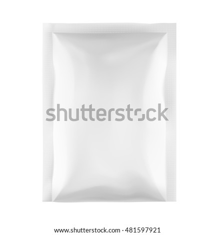 Template of blank sachet packaging for food, cosmetic and hygiene. Vector illustration on white background. Ready for your design.