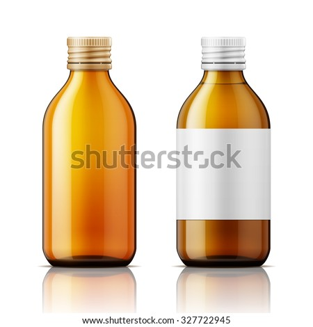 Template of brown glass bottle with screw cap, filled with liquid and empty. For medicine, syrup, pills, tabs. Packaging collection. Vector illustration.  - stock vector