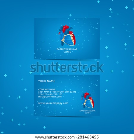 Template of business card for cardiovascular clinic. Logo of cardiovascular clinic. Healthy lifestyle. Structure of human heart. - stock vector