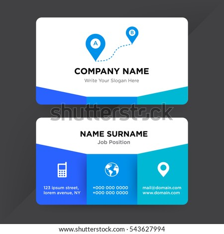Template business card map services company stock vector 2018 template of business card for map services company with blue direction from one point to another wajeb