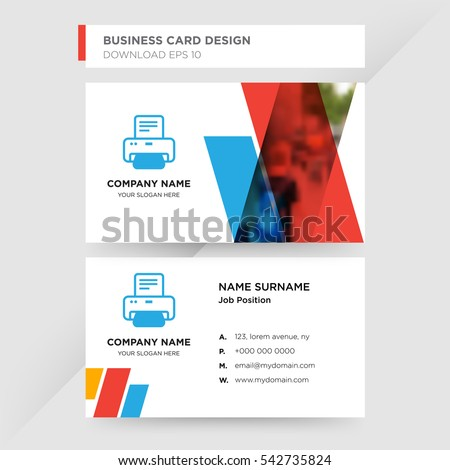Template business card print services company stock vector hd template of business card for print services company with blue printer machine vector on gray background reheart Image collections