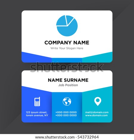 Template business card statistics services company stock vector template of business card for statistics services company with blue pie chart vector on gray background colourmoves