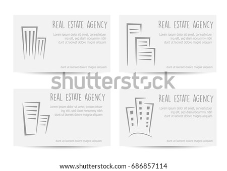 Template business cards real estate agency stock vector 686857114 template of business cards for a real estate agency travel agencies and for a creative reheart Image collections