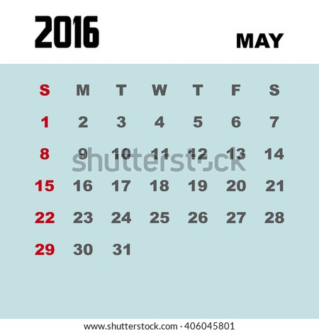 Template of calendar for MAY 2016.