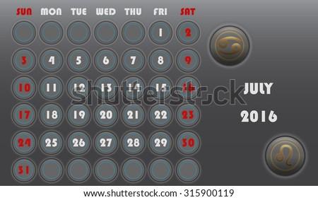 Template Calendar 2016 Stock Vector 315241880 - Shutterstock