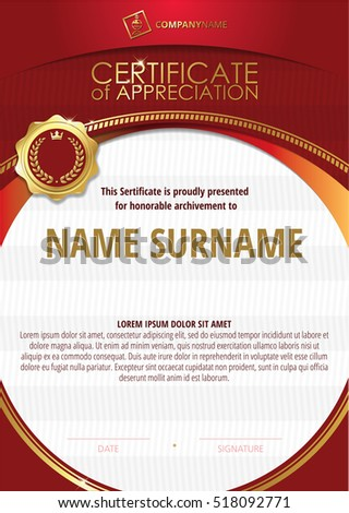 Certificate stock images royalty free images vectors shutterstock template of certificate of appreciation with golden badge 5 yadclub Choice Image