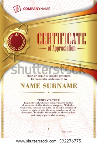 Template certificate appreciation golden badge elements stock template of certificate of appreciation with golden badge and patterned background in gold yelopaper Image collections