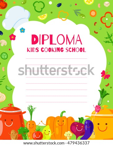 Template Childrens Diplomas Certificates Cooking School Stock Photo ...