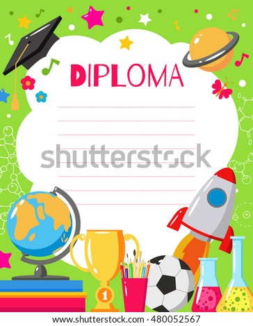 Template childrens diplomas certificates kids award stock vector hd template of childrens diplomas and certificates kids award template for preschool elementary school yelopaper Images