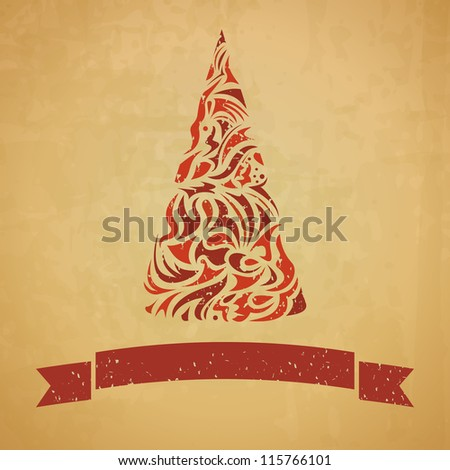 template of christmas card with a fir tree - stock vector