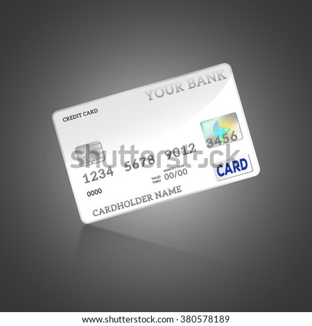 Template of credit card, isolated on white, vector illustration - stock vector