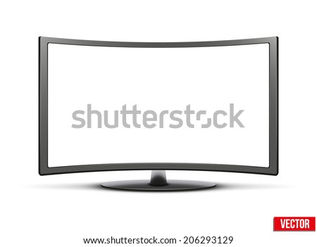 Template of curved wide screen led or lcd tv monitor. Vector Illustration isolated on white