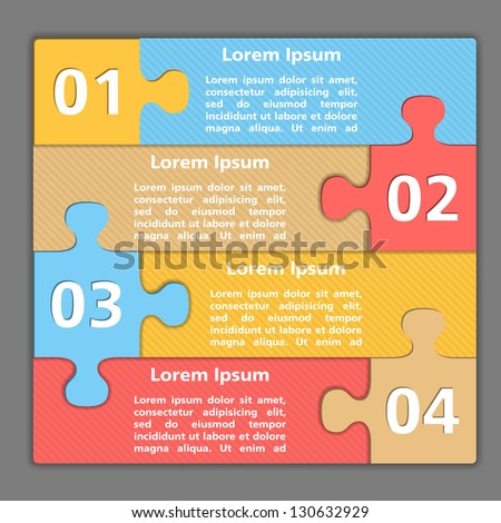 Template of design with four puzzle pieces, vector eps10 illustration - stock vector