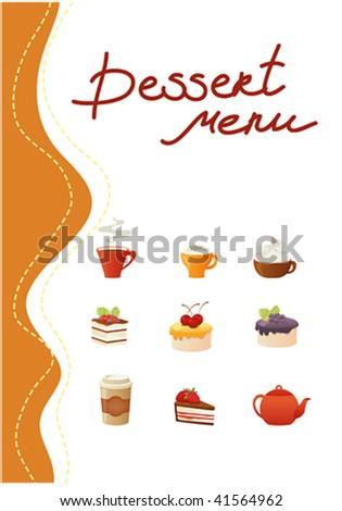 Template of dessert menu - stock vector