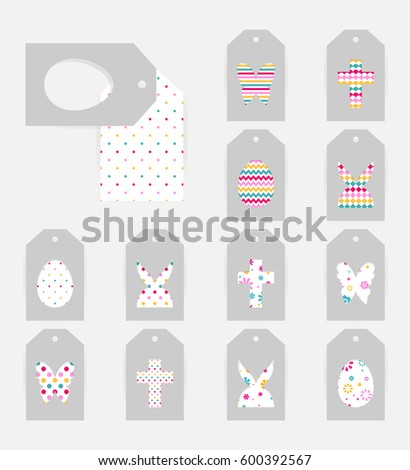 Template easter gift tags grey isolated stock vector 600392567 template of easter gift tags grey isolated layer on top individualized with a cut out negle Gallery