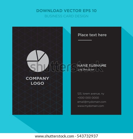 Template elegant business card statistics services stock vector template of elegant business card for statistics services company with gray pie chart vector on black colourmoves