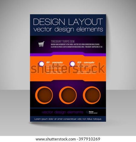 Template of flyer for business brochures, presentations, websites, magazine covers. Editable vector design elements. - stock vector