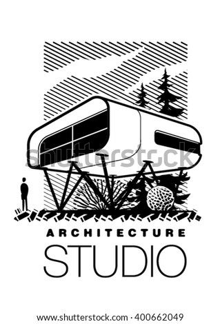 template of futuristic architecture. Vector illustration in the engraving style - stock vector