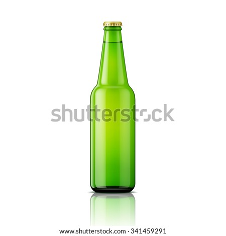 Template of green glass beer bottle on white background. Vector illustration. Packaging collection. - stock vector