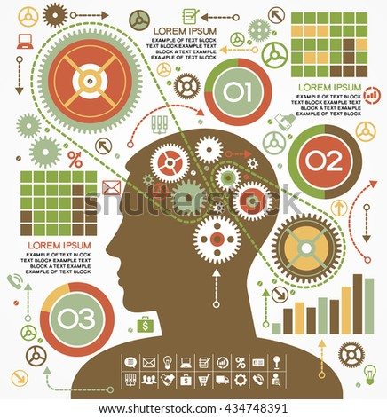 Template of human intelligence. Head and Brain gears in progress. Background info-graphics  - stock vector