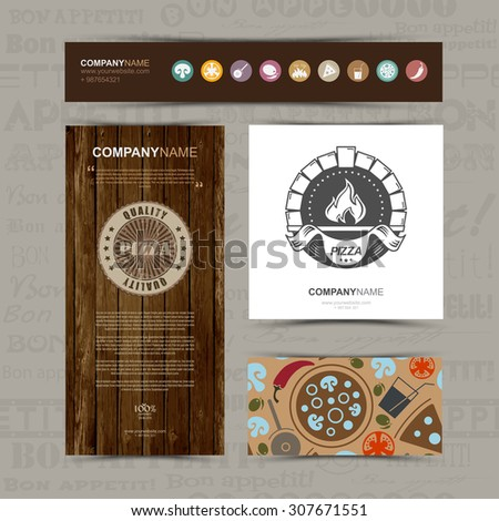 Template of identity for Pizza restaurant, cafe, bar. Business card, banner, pattern, icons and brochure template.  Pizza vintage logo and Pizza background style. Vector illustration. - stock vector