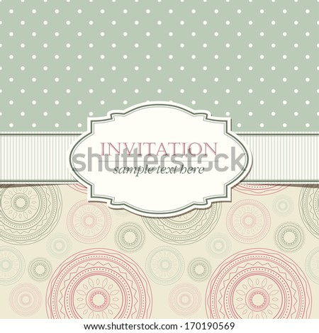 Template of invitation with seamless geometric patterns and vintage frame