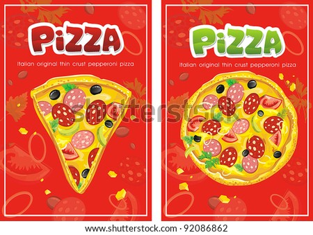 Template of menu for pizza restaurant and business card. Abstract Elegance food background. - stock vector