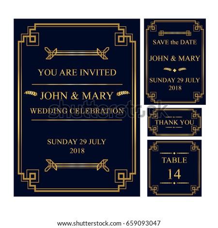 Template modern black gold colors wedding stock vector 659093047 template of modern black and gold colors wedding invitation card gatsby art deco style wedding stopboris Choice Image