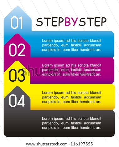 template of numbers, step by step. vector illustration - stock vector