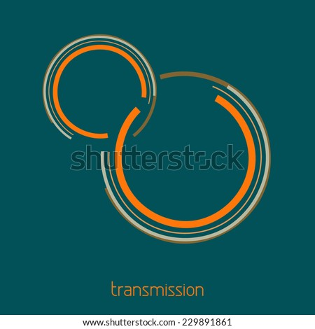 Template of simple transmission logo for engineering, mechanics, connection on a sherpa blue background. Vector - stock vector