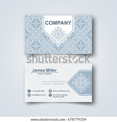 Template blank business card on gray stock vector 678779104 template of the blank business card on a gray backgroundrd with the arab pattern reheart Gallery